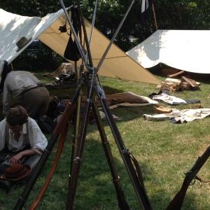 A Confederate encampment.