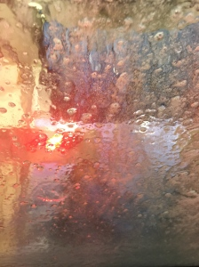 Not a watercolor. A picture through the window of a car wash Robyn took.